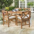 Walker Edison Delray Classic 5 Piece Acacia Wood Outdoor Dining Table and X-Back Chair Set with Cushions, Set of 5, Brown