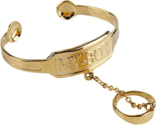 """24K Gold Plated Cuff Bangle and Ring Set Carved Letter""""My Boy""""""""My Girl"""" Bracelet for Baby Child"""