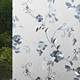 VSUDO 2 Rolls 35.4' by 78.7' Static Cling Window Film for Privacy, Peony Flower Pattern Window Tint for Home, Window Glass Sticker for Office (38.75 Sq. Ft Total)