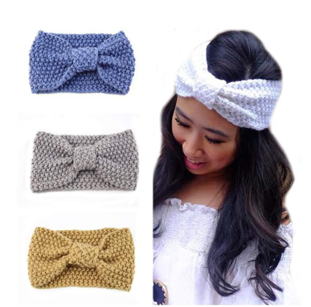 Flyusa Winter Crochet Twist Knitted Headband Hairband Head Wraps Ear Warmer for Women Girls(Post green)