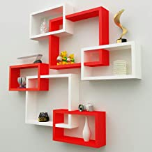 Amaze Shoppee MDF Wall Decoration Intersecting Floating Shelves Set of 6 (RED and White)