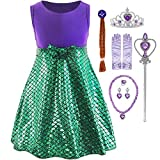 YOCOJA Little Girl Mermaid Princess Costume Sequins Party Dress Cosplay Dress (9-10 Years, Green with Accessories)
