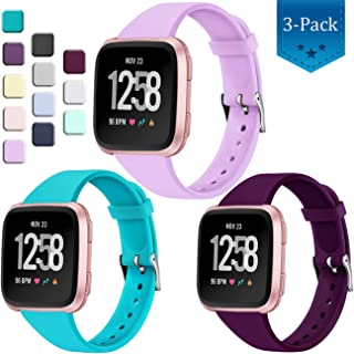 Wepro Bands Compatible with Fitbit Versa SmartWatch, Versa 2 Smart Watch and Vesra Lite SE Watch, Soft Silicone Slim Narrow Replacement Wristband for Women Men, 3-Pack, Small, Large
