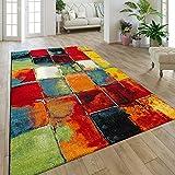 Paco Home Moderner Kurzflor Designer Teppich Mit Karo Design Gemälde Optik Mehrfarbig Bunt, Grösse:160x230 cm