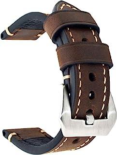 Cinturino di ricambio in vera pelle, per orologio vintage, da uomo o donna, con fibbia in acciaio inossidabile, 20 x 22 x ...