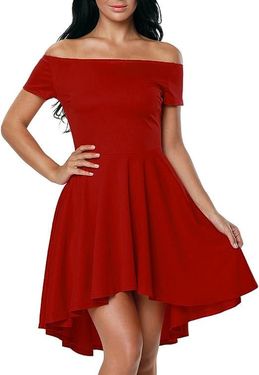 Touchie Damen Schulterfreies Kleid Skaterkleid Kurz Cocktailkleid Abenkleid Festlich Partykleid 36 S Fba Rot 1 Amazon De Bekleidung