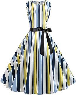 Auifor, Vestido Retro de Fiesta de Noche con Estampado de Cuello Retro sin Mangas, de 50 años, para Mujer