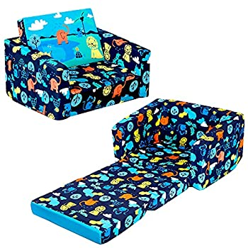 MallBest Kids Sofas Children s Sofa Bed Baby s Upholstered Couch Sleepover Chair Flipout Open Recliner  Blue/Jungle