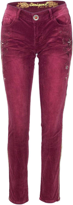 Desigual Women's 18WWPN17BURGUNDY Burgundy Cotton Pants