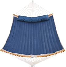 Patio Watcher 11 Feet Quilted Fabric Hammock with Curved-Bar Bamboo and Detachable Pillow, Double Hammock Perfect for Pati...