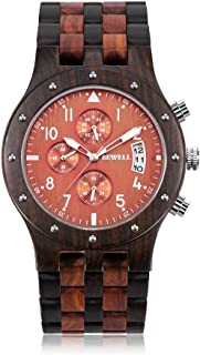 Mens Wooden Watches Stylish Handmade Wood Quartz Watches Analog Movement Chronograph Wrist Watches for Men
