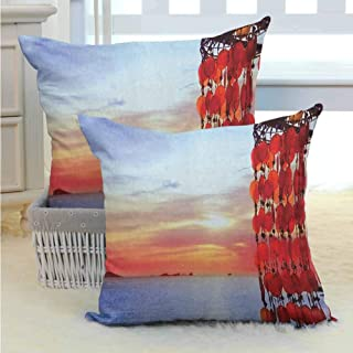 Beach Bed or Sofa Pillows Case Dreamcatcher Ibiza Sunset Mediterranean Sea View Picture Vacation Theme Image Premium Soft ,Fit All season for Sofa Couch Living Room Decor 2PCS Red Blue Coral -