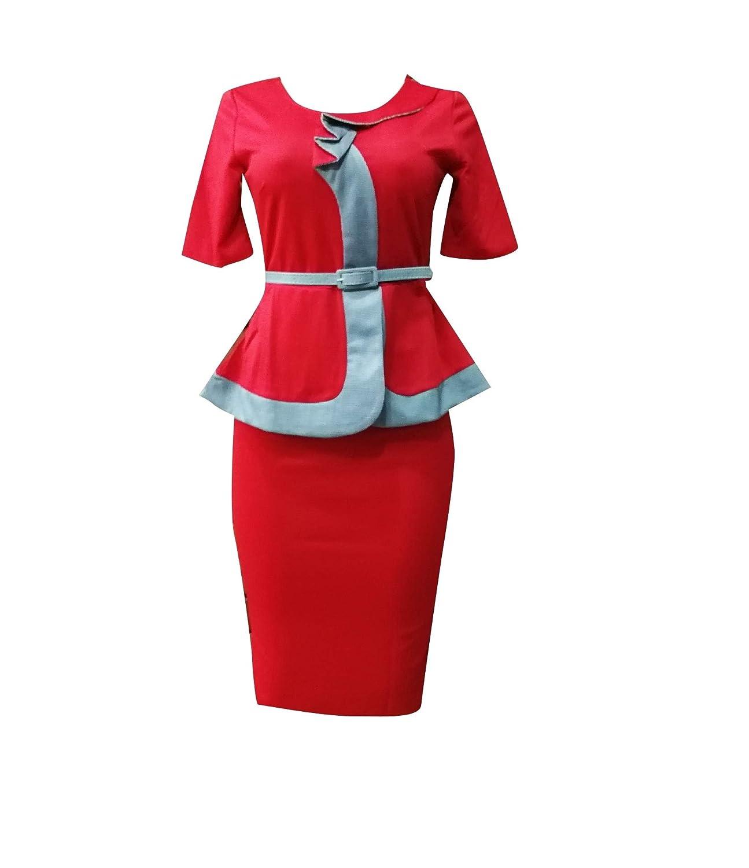 Nicellyer 女性特大のワークオフィス2ピースベルトシャツジャケットスカートスーツ