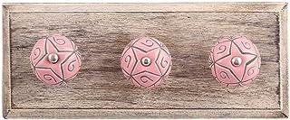 Indianshelf Lot de 2 crochets en bois pour vêtements et chapeaux Motif floral Rose