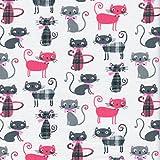 Tessuto Stampato - Miao! Tessuto Gatto - Rosa Brillante, Grigio vaio, Grigio Ferro e Tre Tartan Chic su Uno Sfondo Bianco | 100% Puro Cotone | Altezza: 160 cm (per Metro lineare)*