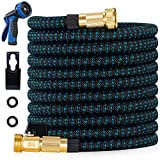 200ft Expandable Garden Hose - All New 2021 Retractable Water Hose with 3/4' Solid Brass Fittings, Extra Strength Fabric - 200 ft Flexible Expanding Hose with 9 Pattern Spray Nozzle