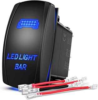 Nilight LED Light Bar Rocker Switch 5Pin Laser On/Off LED Light 20A/12V 10A/24V Switch Jumper Wires Set for Jeep Boat Truc...