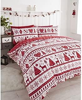 Noel Christmas Tree Snowflake Reversible Duvet Quilt Cover Bedding Set Red - UK Super King/US King