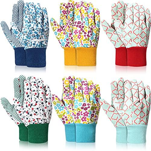6 Pairs Gardening Gloves Floral Garden Gloves Women Working Yard Gloves Soft Non-slip PVC Dots Yard...