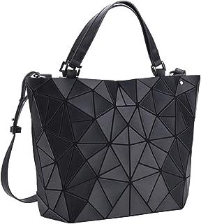 VBIGER Handtaschen Damen Geometrische Tasche Matte schwarz Damentasche Schultertaschen Umhängetaschen für Frauen Matte Schwarz