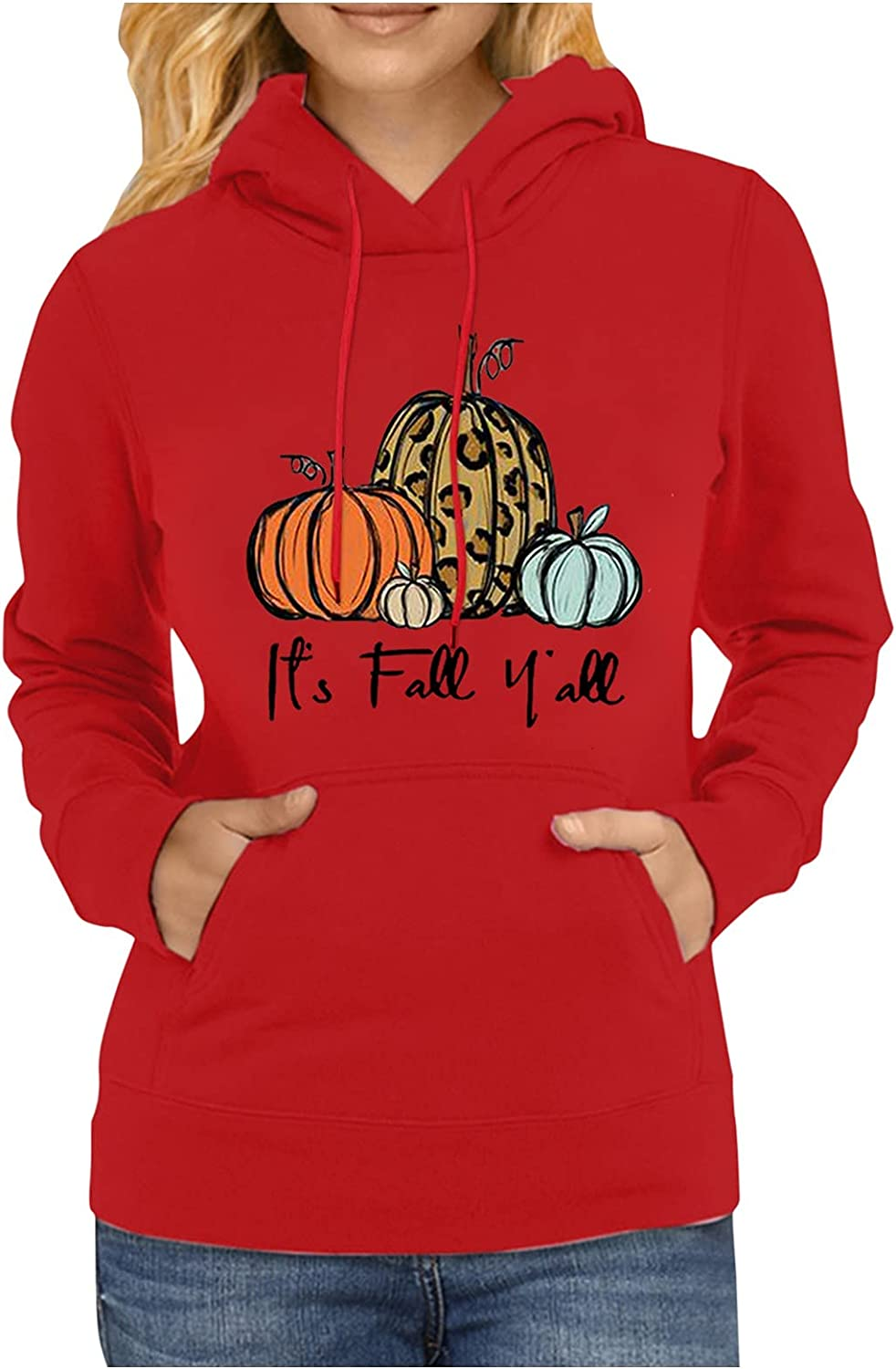 Women's Sweatshirts Hoodie with Pocket Casual Fall Long Sleeves Pullover Drawstring Hooded Halloween Print Tops