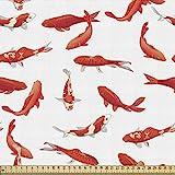 ABAKUHAUS Koi Fisch Stoff als Meterware, Asiatische