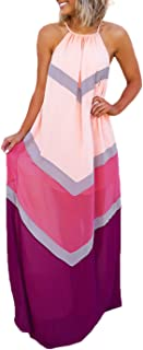 Women's Chiffon Halter Striped Color Patchwork Pleated Back Hollow Out Maxi Long Dresses