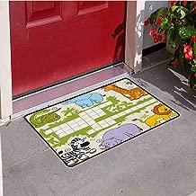 RelaxBear Word Search Puzzle Universal Door mat Colorful Crossword Game for Children Wild Jungle Safari Animals Grid Door mat Floor Decoration W31.5 x L47.2 Inch Multicolor