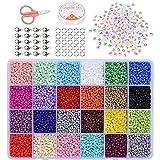 Cuentas de Colores 2mm Mini Cuentas con 6mm Cuentas del Alfabeto Pequeño Abalorios Kit para DIY Pulseras Collares Bisutería(24 Colores)