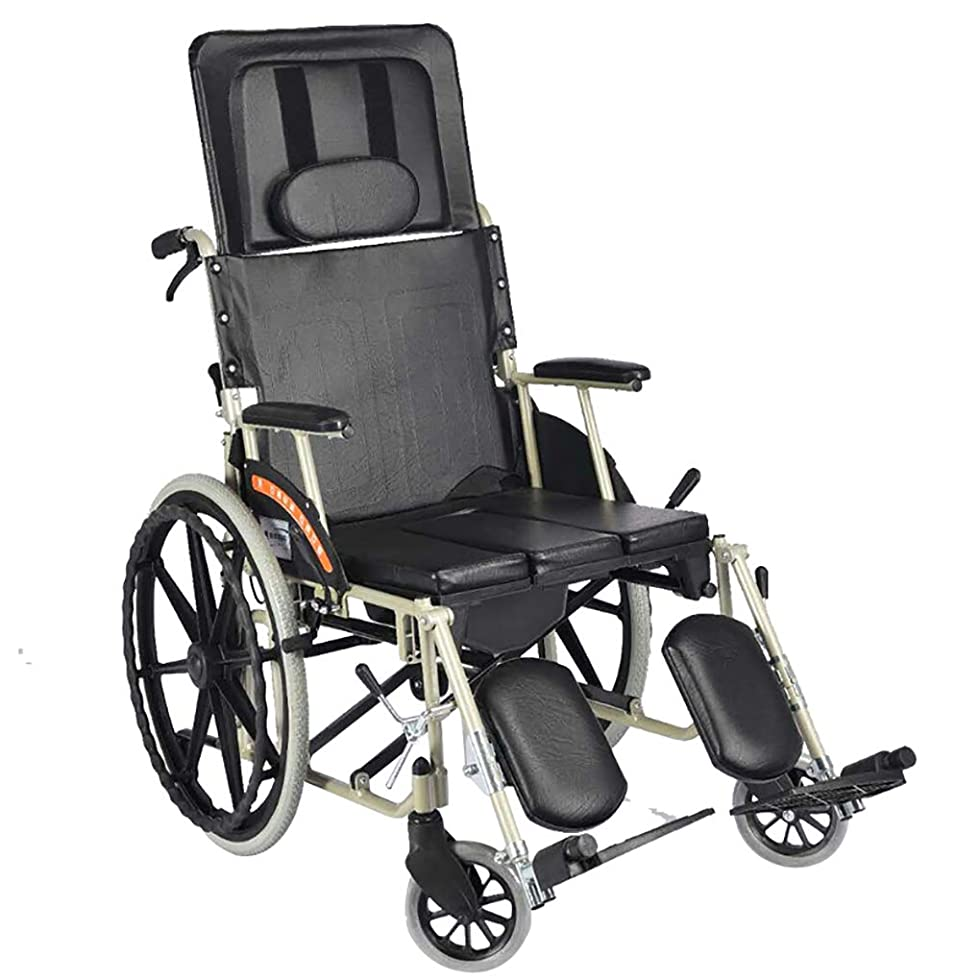 恥ずかしいメールを書く国内のHTDZDX 車椅子ポータブル旅行チェアフルリクライニングライト折りたたみ車椅子アルミ合金キャリング高齢者用パワートロリーレザー生地