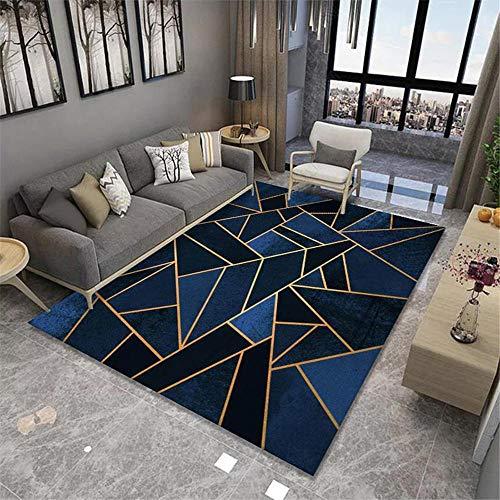 Tapis Deco Chambre Adulte Tapis géométrique Jaune Bleu Noir antidérapant Salon antidérapant Tapis Cuisine Chambre Enfant Garcon 160*230cm