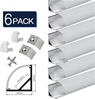 LED Strip Channel with Diffusers, StarlandLed 6-Pack 1Meter/3.3ft LED Aluminum Profile Track Housing V-Saped with Cover and Complete Mounting Accessories for LED Strip Light