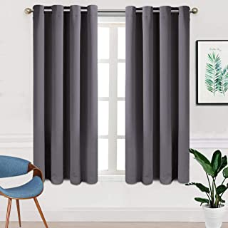 TEKAMON Blackout Window Curtains Room Darkening 2 Panels Set,Thermal Insulated Noise Reducing Window Drapes for Bedroom (W52 X L63 inch,Dark Grey)