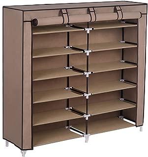 SONGMICS 7-Tier Shoe Rack 36-Pair Shoe Storage Cabinet Organizer Portable Covered Shoe Shelf Mocha URXJ12K