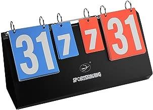 Ecisi 4-Digital Portable Sport Scoreboard,Premium Tabletop-Flipper-Easy Flip Score Keeper Volleyball Basketball Table Tennis Scoreboards