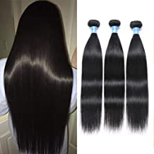 10A Peruvian Straight Hair 3 Bundles Virgin Human Hair 100% Unprocessed Peruvian Straight Virgin Hair Bundles 100g Per Bundle Double Weft Can Be Dyed and Bleached 18
