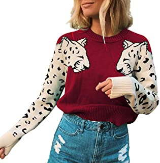 Women's Casual Fashion Tiger Print Blouse Shirts Stitching Long-Sleeved Knit Sweater Loose Turtleneck Pullover