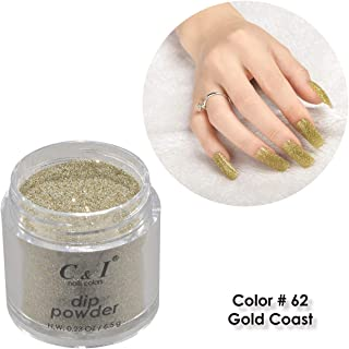 C & I Dipping Powder, Nail Colors, Gel Effect, Color # 62 Gold Coast, 0.23 oz, 6.5 g, Pearl Shine Color System (1 pc)