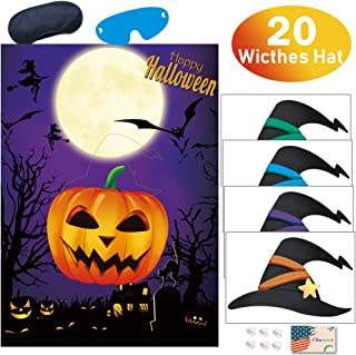 Pin the Witches Hat on the Pumpkin Game for Halloween Party Games Birthday Party Favor Decoration Supplies