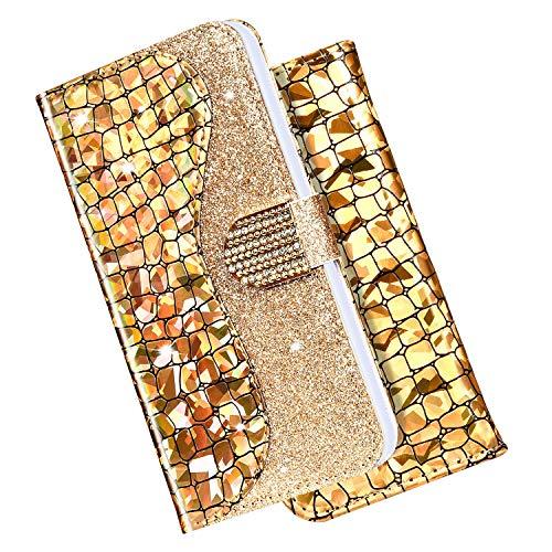 Coque Samsung Galaxy J6 Plus 2018 Etui à Rabat en Cuir PU, Bling Briller Glitter Diamond Coque Crocodile Motif Portefeuille Folio Flip Case Magnétique Etui Housse pour Galaxy J6 Plus 2018,Or