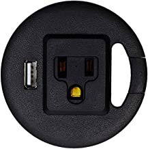 Standdesk Power Desk Grommet, Extension Cord/Power Strip with USB, Pop Up Outlet and Cable Management for Office Table, Cord Organizer/Power Cord Perfect for Office, Home and School (Black)