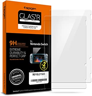 Spigen Tempered Glass Nintendo Switch Screen Protector [ 9H Hardness ] for Nintendo Switch (2 Pack)
