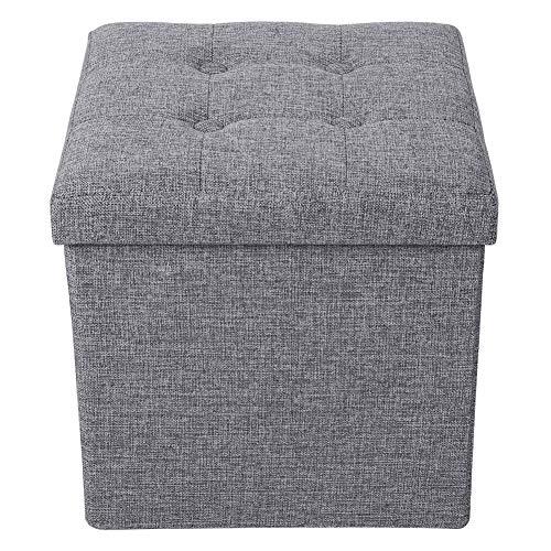 Caja de almacenamiento, caja de taburete de almacenamiento plegable multifuncional portátil de color gris que ahorra espacio para el hogar