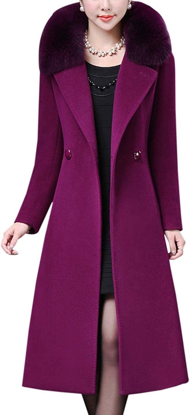Gihuo Women's Wool Lapel Double Breasted Trench Coat Overcoat with Fur Collar