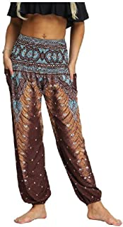 Fiere Women Smocked Waist Tribal Colorful Plus Size Comfy Yoga Lounge Pants