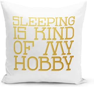 Sleeping is my hobby Polyester White Pillow with Metalic Gold Foil Print Funny Theme Couch Pillows