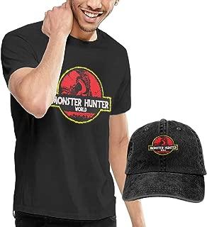 OYQGEJGPJA Monster Hunter World Men's T-Shirt and Hats Black