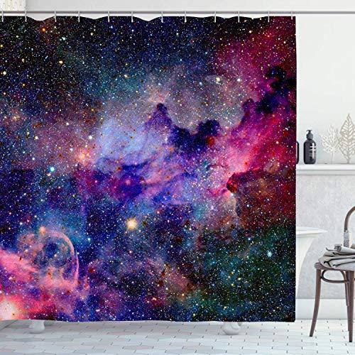 "KYKU Galaxy Shower Curtain Fabric Starry Space Decorations Curtains Purple Universe Nebula Waterproof Shower Curtains for Bathtub Bathroom (72"" W × 72"" L,Galaxy)"