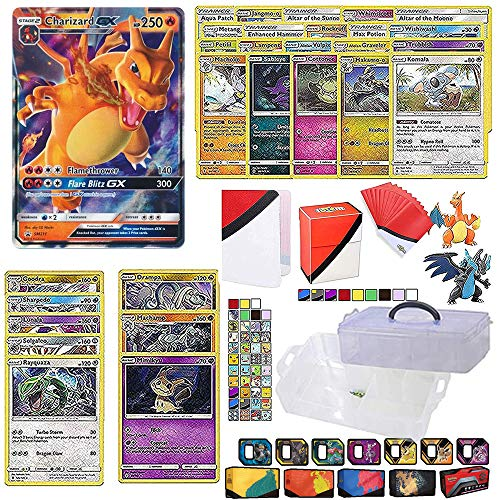 Pokemon Cards Charizard Lot with Charizard GX Guaranteed - Also Includes 5 Rares, 5 Foil Cards, 20 Regular Pokemon Cards, Figure, Totem Deck Box, Mini Binder and 100 Sleeves