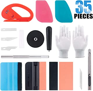 Glarks 35Pcs Car Window Tint Film Tool Kit Vinyl Wrap Tool Inluding Felt Squeegee with Spare Fabric Felts, Vinyl Magnet Holder, Snitty Vinyl Cutter, Utility Knife, Carving Knife and Blades, Gloves